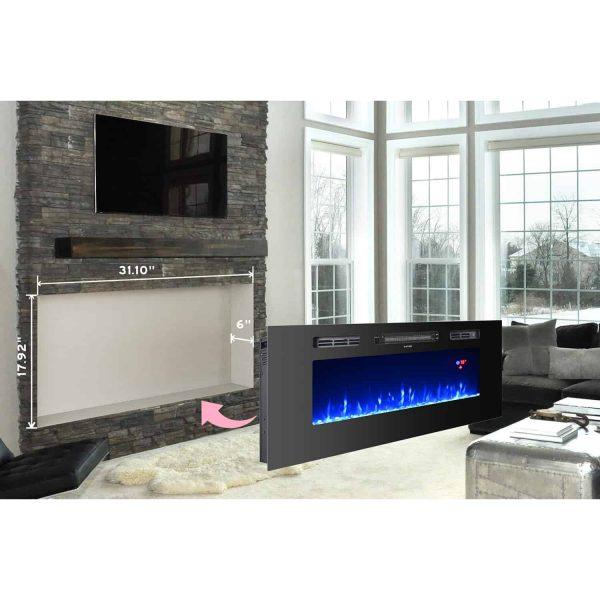 "Ryan Rove Essex 40""Built-In Ventless Recessed Wall Fireplace -Pebble Crystal Log 2"