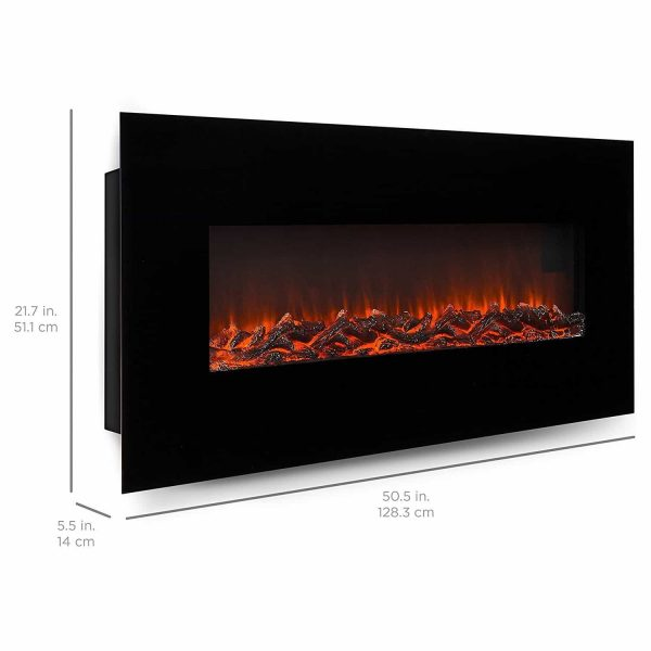"Ryan Rove Valencia 50"" Black Ventless Heater Electric Wall Mounted Fireplace Log 1"