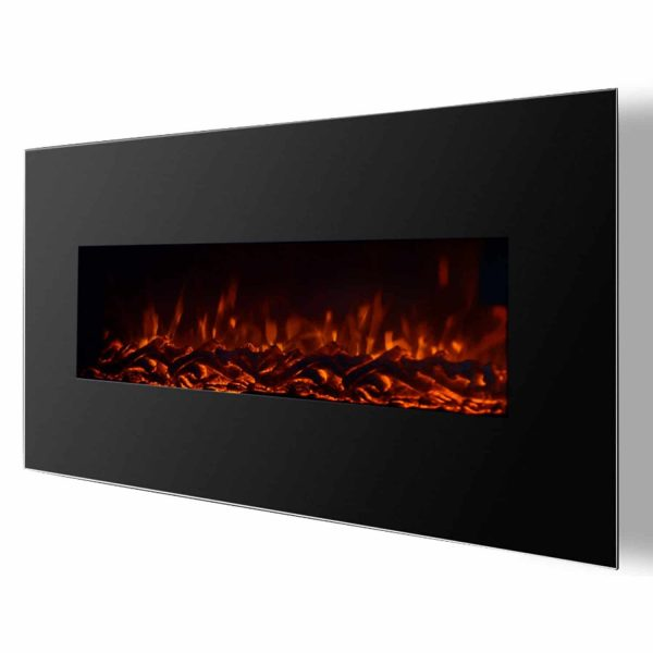 "Ryan Rove Valencia 50"" Black Ventless Heater Electric Wall Mounted Fireplace Log"