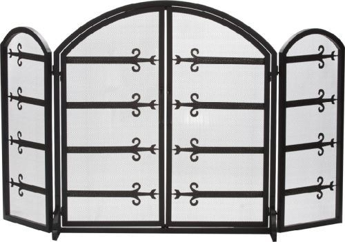 S148 Black 3 Fold Wrought Iron Arched Panel Screen - 32 inch