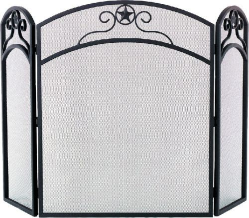 S165 Black 3 Fold Wrought Iron Arched Panel Screen - 32 inch