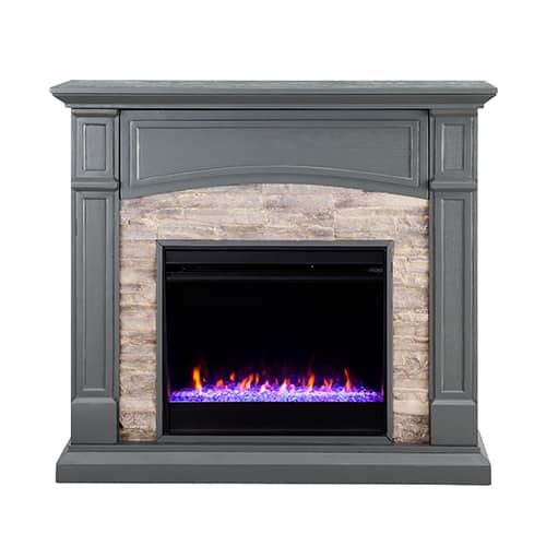 Sanstone Color Changing Media Fireplace – Gray 11