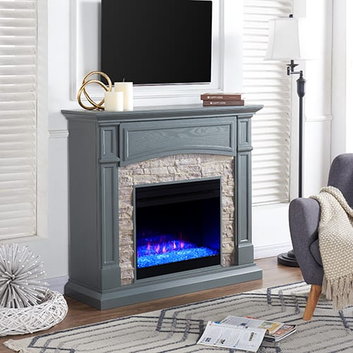 Sanstone Color Changing Media Fireplace – Gray 4