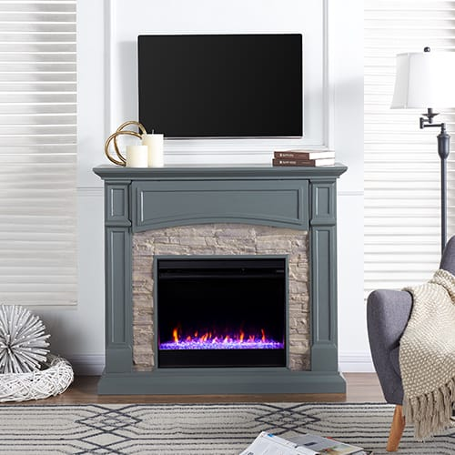 Sanstone Color Changing Media Fireplace – Gray