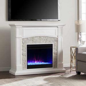 Sanstone Color Changing Media Fireplace ? White