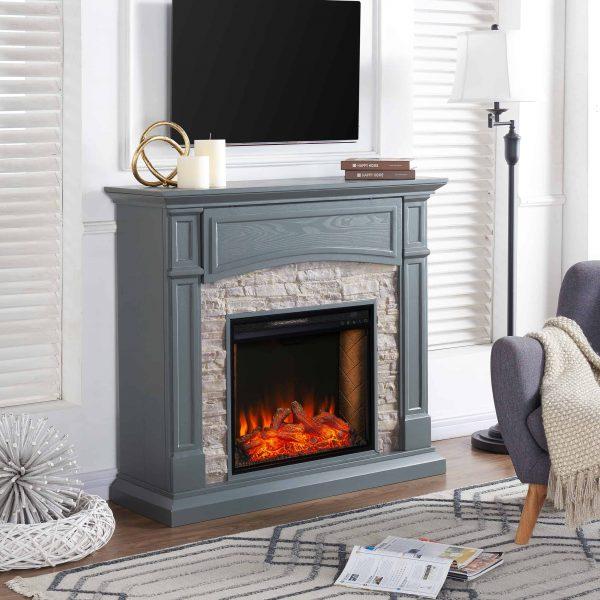 Sanstone Smart Media Fireplace - Gray 4