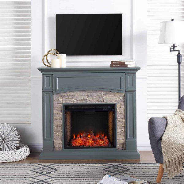 Sanstone Smart Media Fireplace - Gray