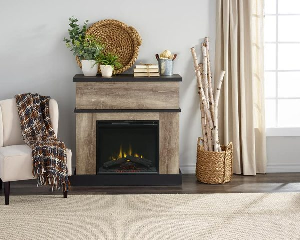 Sarah Electric Fireplace Mantel by Cᶟ, Distressed Oak 5