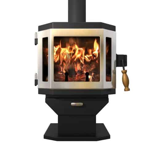 Satin Black Catalyst Wood Stove with Charcoal Door and Room Blower Fan