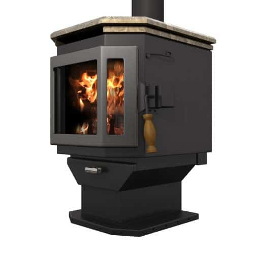 Satin Black Catalyst Wood Stove with Charcoal Door and Soapstone Top 1