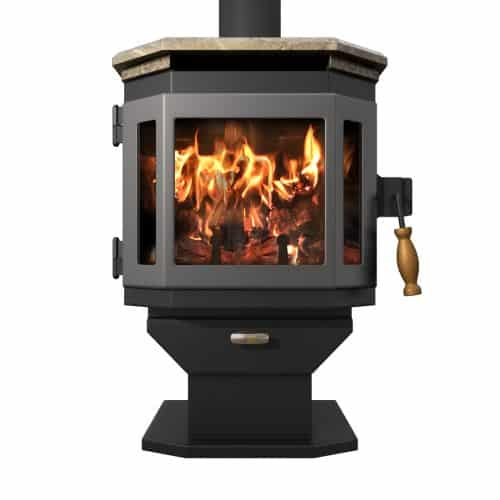 Satin Black Catalyst Wood Stove with Charcoal Door and Soapstone Top