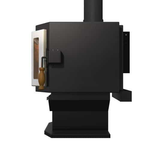 Satin Black Catalyst Wood Stove with SS Door and Room Blower Fan 1