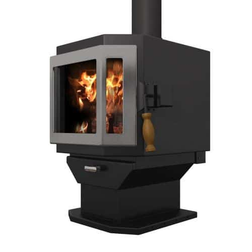 Satin Black Catalyst Wood Stove with SS Door and Room Blower Fan