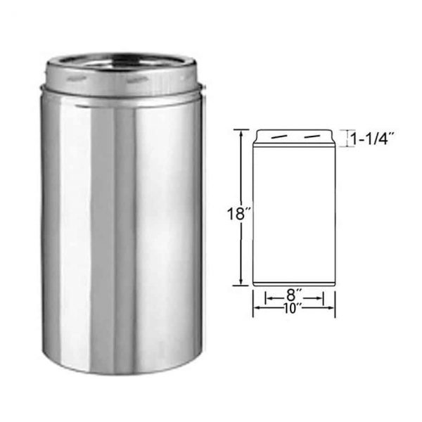 """Selkirk 8UT-18 8"""" X 18"""" Stainless Steel Insulated Chimney Pipe 1"""