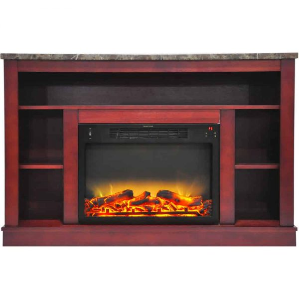 "Seville 47"" Electric Fireplace Mantel Heater with Enhanced Log and Grate Display 1"