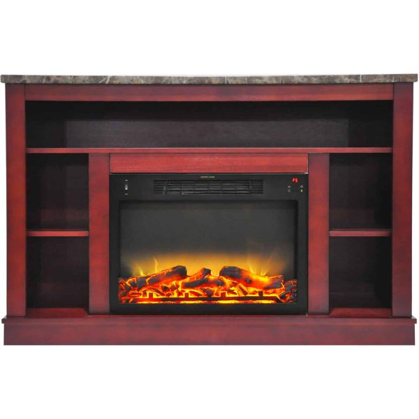 "Seville 47"" Electric Fireplace Mantel Heater with Enhanced Log and Grate Display 2"
