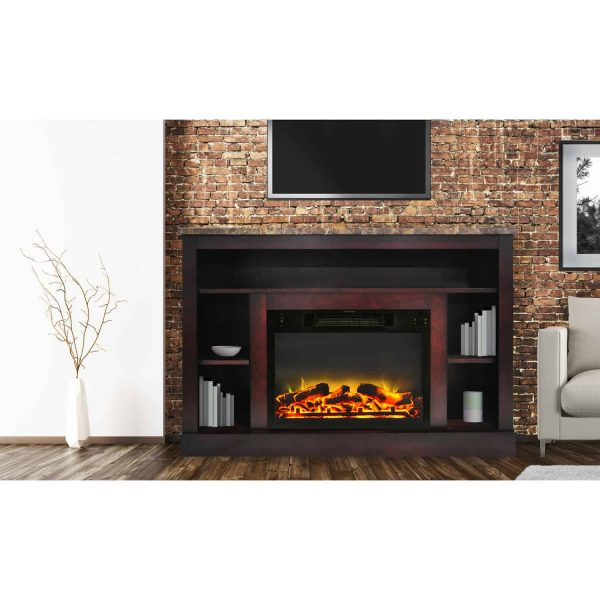 "Seville 47"" Electric Fireplace Mantel Heater with Enhanced Log and Grate Display"