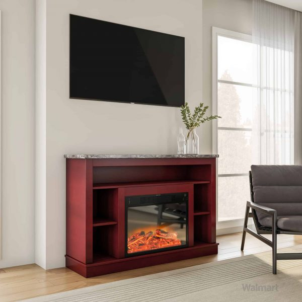 "Seville 47"" Electric Fireplace Mantel Heater with Enhanced Log and Grate Display 7"