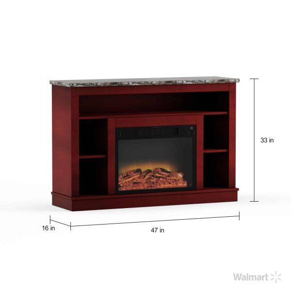 "Seville 47"" Electric Fireplace Mantel Heater with Enhanced Log and Grate Display 9"
