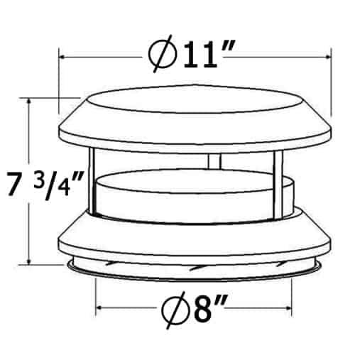 Shasta Vent 8 Inch Deluxe Chimney Cap 1