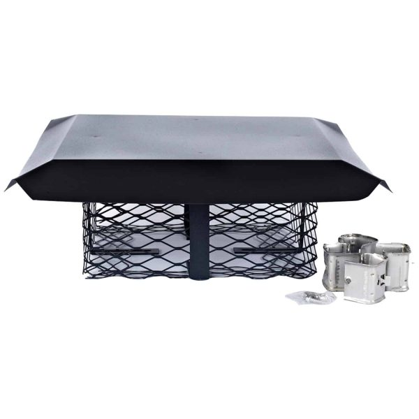 Shelter SCADJ-L Single-Flue Adjustable Black Galvanized-Steel Chimney Cap (Large)