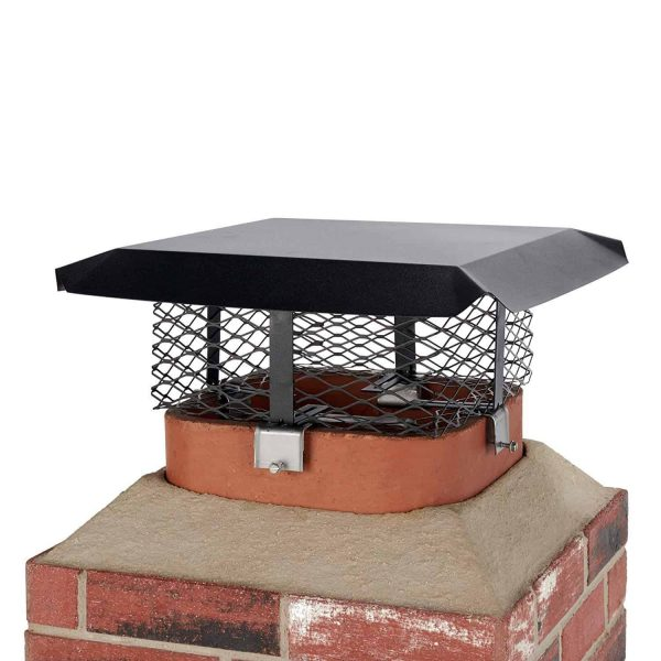 Shelter SCADJ-S Adjustable Clamp On Black Galvanized Steel Single Flue Chimney Cap 2