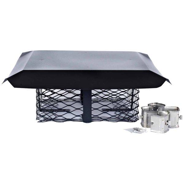 Shelter SCADJ-S Single-Flue Adjustable Black Galvanized-Steel Chimney Cap (Small)