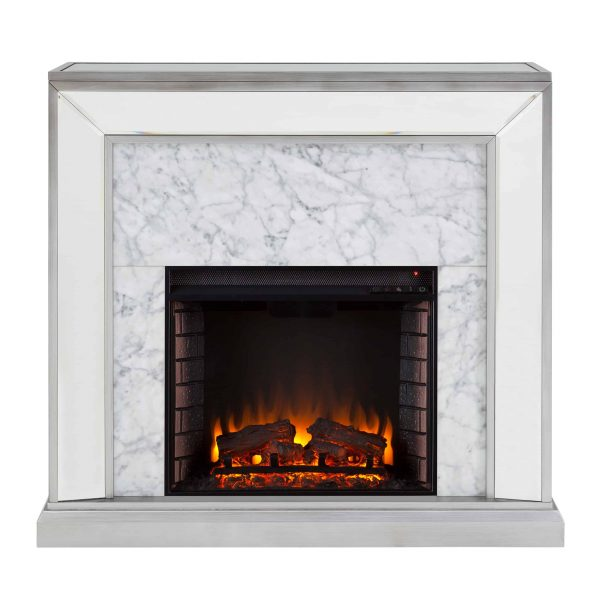 Shroplynn Mirrored Faux Marble Electric Fireplace by Chateau Lyon 3
