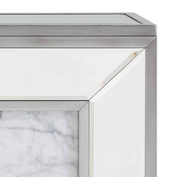 Shroplynn Mirrored Faux Marble Electric Fireplace by Chateau Lyon 4