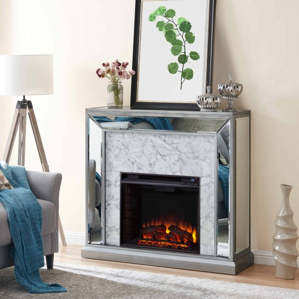 Shroplynn Mirrored Faux Marble Electric Fireplace by Chateau Lyon 6