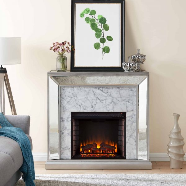 Shroplynn Mirrored Faux Marble Electric Fireplace by Chateau Lyon