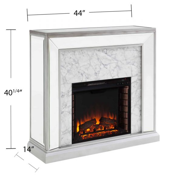 Shroplynn Mirrored Faux Marble Electric Fireplace by Chateau Lyon 7