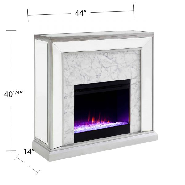 Shroplynn Mirrored Faux Stone Fireplace with Color Changing Firebox by Chateau Lyon 1