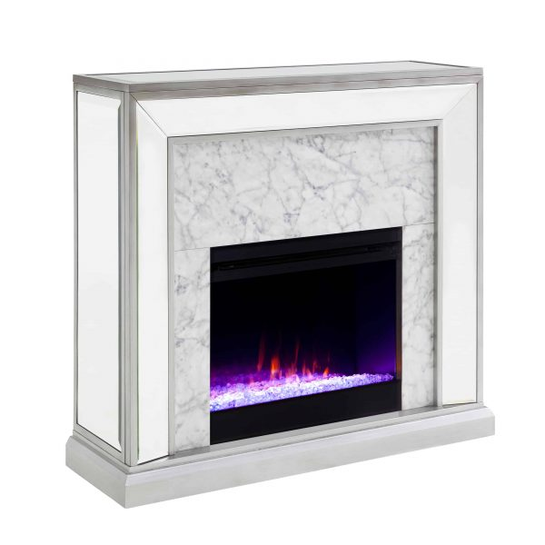 Shroplynn Mirrored Faux Stone Fireplace with Color Changing Firebox by Chateau Lyon 12