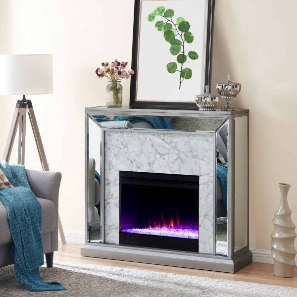 Shroplynn Mirrored Faux Stone Fireplace with Color Changing Firebox by Chateau Lyon 6