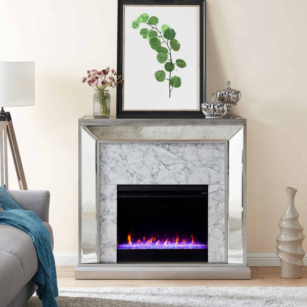 Shroplynn Mirrored Faux Stone Fireplace with Color Changing Firebox by Chateau Lyon
