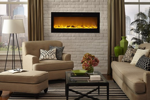 """Sideline 50"""" Wide Wall Mounted Electric Fireplace - Black 1"""