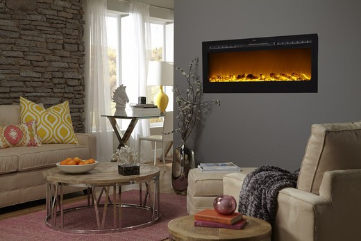 """Sideline 50"""" Wide Wall Mounted Electric Fireplace - Black 2"""
