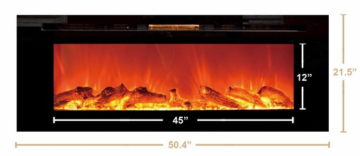 """Sideline 50"""" Wide Wall Mounted Electric Fireplace - Black 3"""