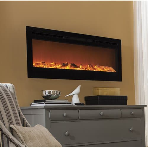 """Sideline 50"""" Wide Wall Mounted Electric Fireplace - Black"""