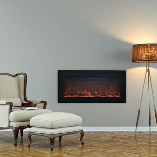 Sideline Steel Electric Fireplace with Heat and Steel/Screen Face