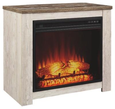 Signature Design by Ashley Willowton Whitewash Fireplace Mantel w/FRPL Insert 1