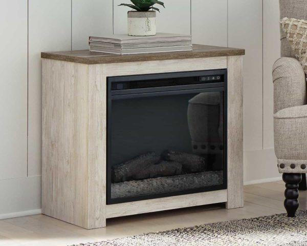 Signature Design by Ashley Willowton Whitewash Fireplace Mantel w/FRPL Insert 3