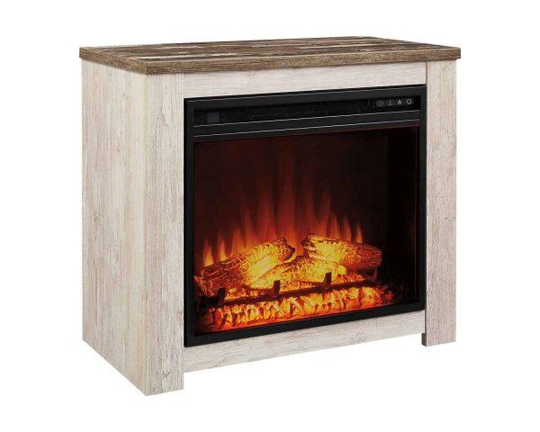 Signature Design by Ashley Willowton Whitewash Fireplace Mantel w/FRPL Insert