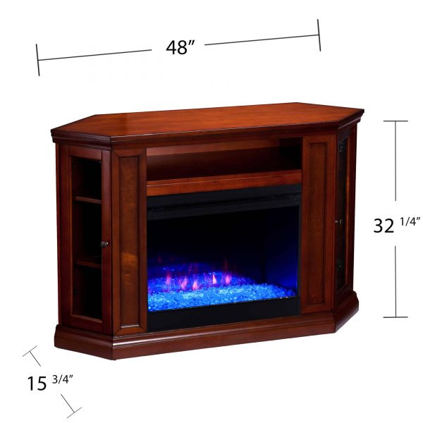 Silverado Color Changing Convertible Fireplace – Brown Mahogany 1