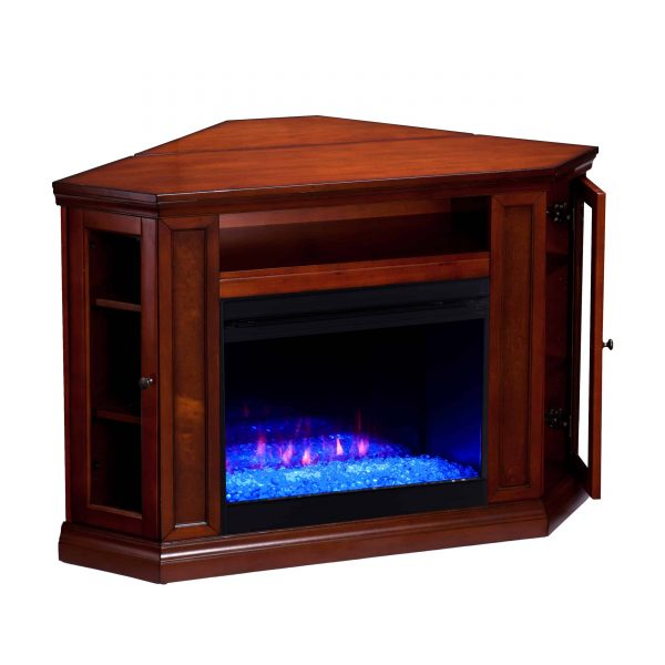 Silverado Color Changing Convertible Fireplace – Brown Mahogany 12