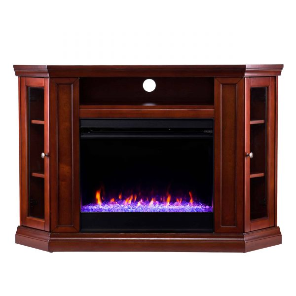 Silverado Color Changing Convertible Fireplace – Brown Mahogany 13