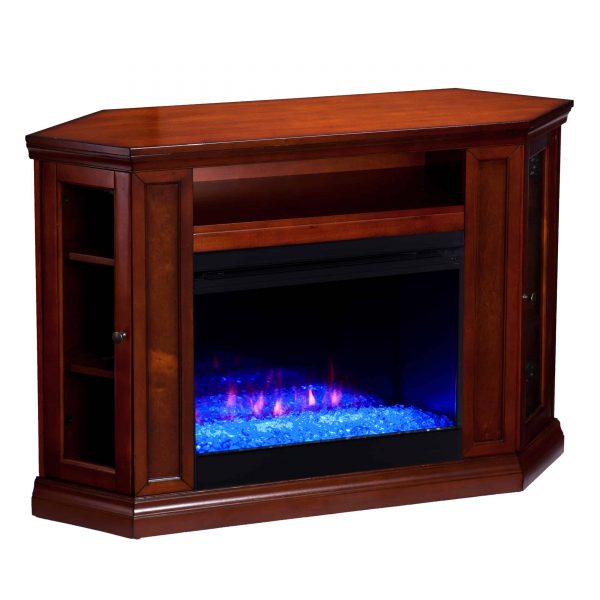 Silverado Color Changing Convertible Fireplace – Brown Mahogany 2