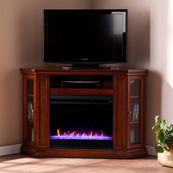 Silverado Color Changing Convertible Fireplace – Brown Mahogany 3