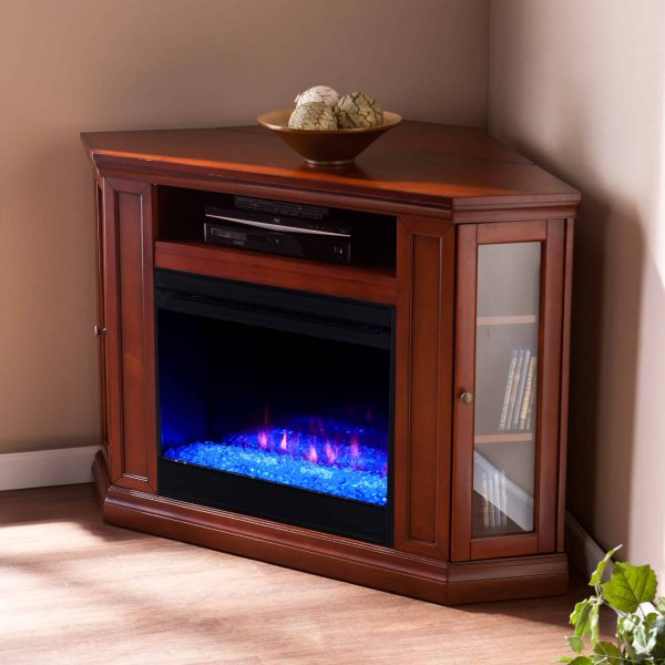 Silverado Color Changing Convertible Fireplace – Brown Mahogany 5